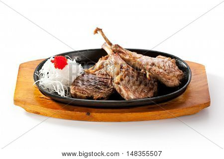 Asian-Style Pan-Fried Lamb Chops with Daikon