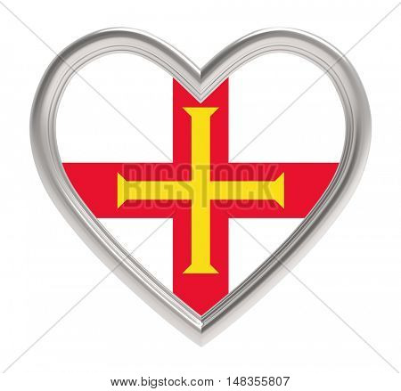 Guernsey flag in silver heart isolated on white background. 3D illustration.
