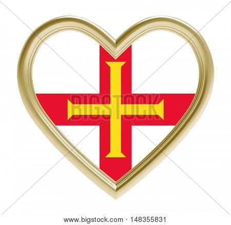Guernsey flag in golden heart isolated on white background. 3D illustration.