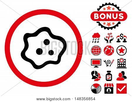 Amoeba icon with bonus pictogram. Vector illustration style is flat iconic bicolor symbols intensive red and black colors white background.