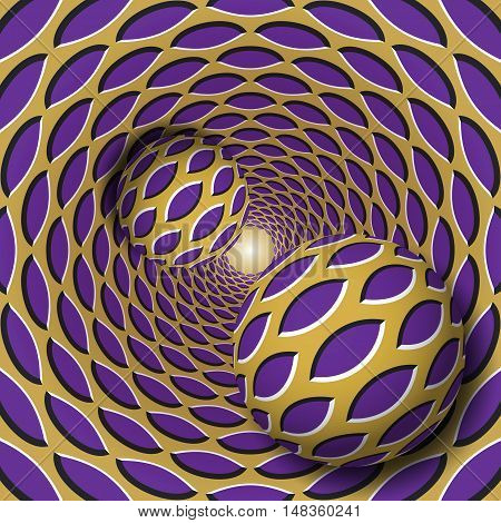 Optical illusion illustration. Two balls with a pointed ellipses pattern are moving on rotating purple pointed ellipses golden funnel. Abstract fantasy in a surreal style.