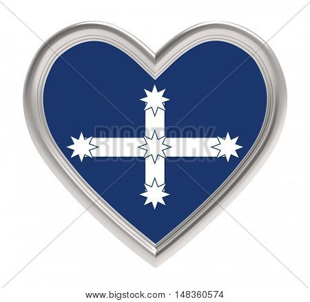 Eureka flag in silver heart isolated on white background. 3D illustration.