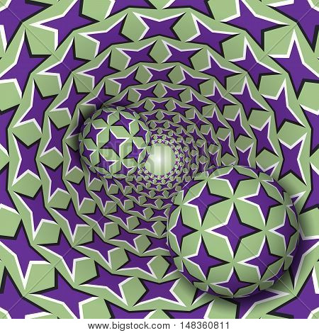 Optical illusion illustration. Two balls with a four pointed stars pattern are moving on rotating purple stars green funnel. Abstract fantasy in a surreal style.