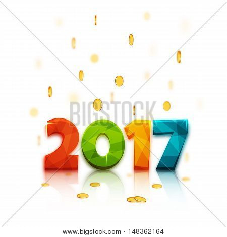 Happy new year 2017. Text design of 2017 letter with bright colors. Vector New Year illustration. 2017 letter on white background with coins rain falling on 2017