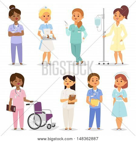 Medical team of doctors and nurses meeting in hospital setting for lesson, rounds or planning. Nurses character female of many ethnic people. Nurses character medical practitioner hospital treatment.