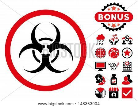 Biohazard Symbol icon with bonus pictogram. Vector illustration style is flat iconic bicolor symbols, intensive red and black colors, white background.