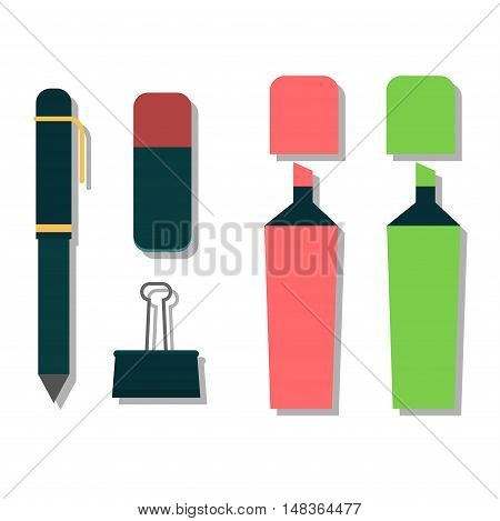 Vector pen illustration isolated on white. Vector pen icon illustration. Vector pen education icon vector. Vector pen silhouette flat style
