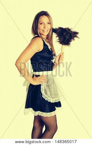 Woman wearing sexy french maid costume