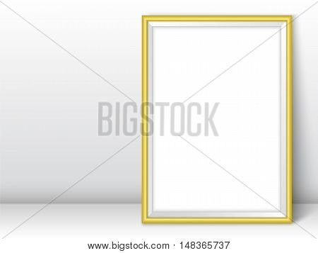 Photoframe template. Golden picture framing mockup. Frame near the wall on the floor with realistic shadows. Vector template for presentation your photo art or other crafts.