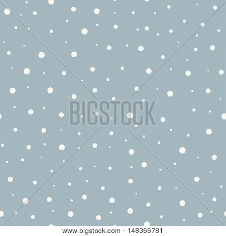 Abstract seamless snow winter vector background. Tileable cartoon snowfall backdrop.