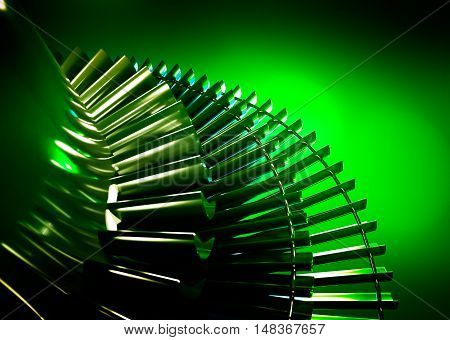 Gas turbine on green background. 3d rendering.