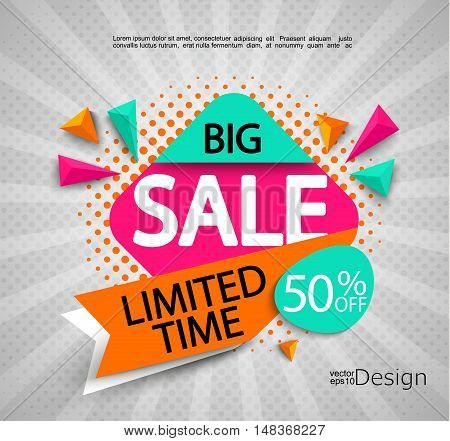 Big Sale - limited time - bright modern banner with halftone background. Sale and discounts. Vector illustration.