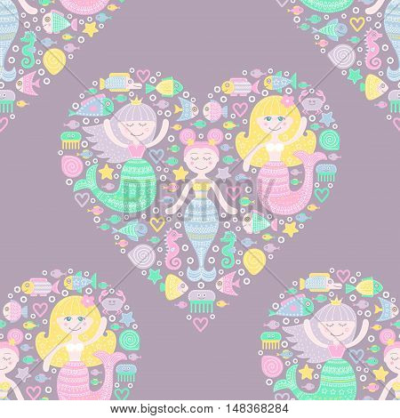 Cute mermaid and fish in heart. Vector seamless pattern with flat mermaid girls. Colorful sea background for kids. Water nymph with doodle ornament on violet background. Pastel colors.