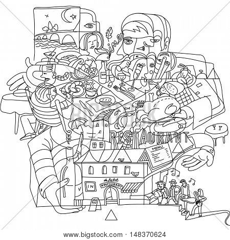 Doodle drawing of restaurant atmosphere in the city. Creative funky line art illustration.