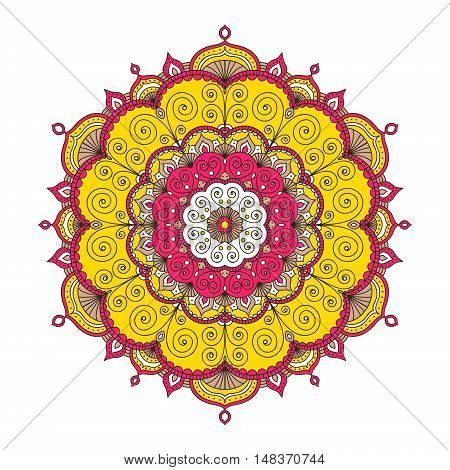 Vector hand drawn doodle mandala. Ethnic mandala with colorful tribal ornament. Isolated. Red white yellow and brawn colors. On white background.