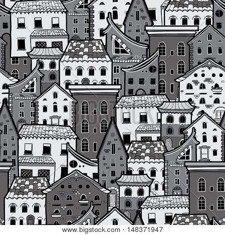 Seamless pattern with houses, doodle house vector background, monochrome house wallpaper, good for design fabric, wrapping paper, postcards, EPS 8