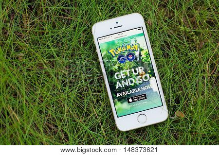 JURMALA LATVIA - July 13 2016: Pokemon Go website on the smartphone. Pokemon Go is a location-based augmented reality mobile game.