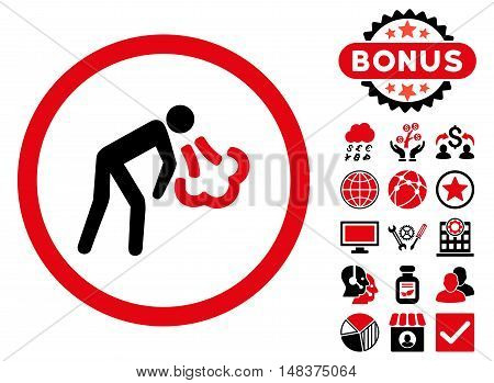 Cough icon with bonus symbols. Vector illustration style is flat iconic bicolor symbols intensive red and black colors white background.