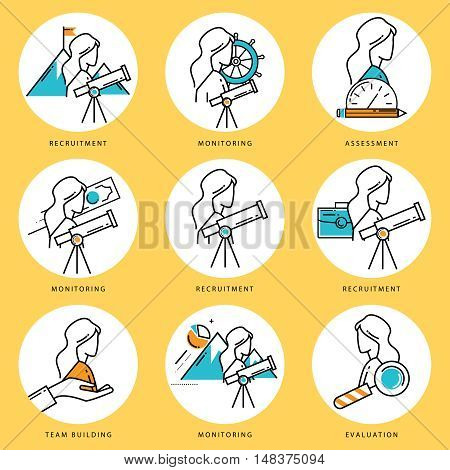 Stroke line icons set for job recruitment and evaluation. Corporate management flat linear pictogram pack. Team building and assessment outline symbol collection and infographic elements vector design