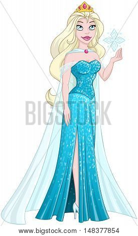 Vector illustration of a snow princess queen in blue dress holding a snowflake.