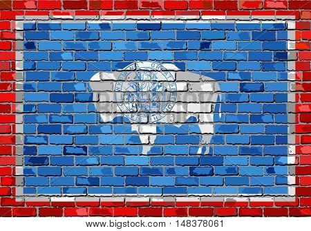 Flag of Wyoming on a brick wall - Illustration,  The flag of the state of Wyoming on brick textured background,  Wyoming Flag in brick style