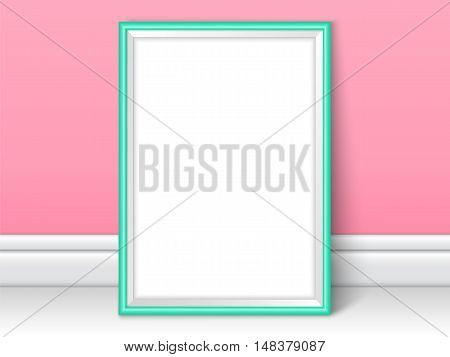 Photoframe Realistic Mock Up Vector Pink Kids Room Wall