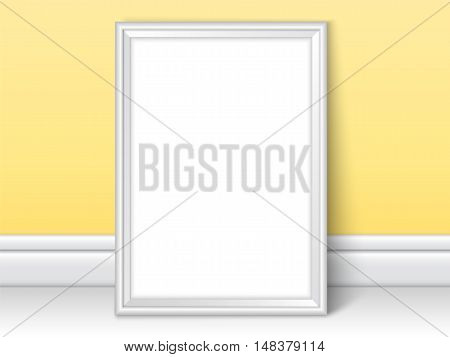 Photoframe template near yellow wall. Realistic mockup vector. Cute color of framing great for kids drawing painting or photo. White picture template for children room or school theme design.