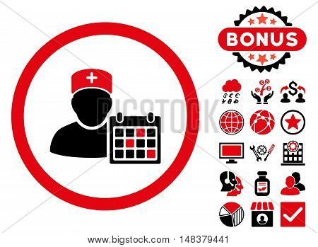 Doctor Appointment icon with bonus pictogram. Vector illustration style is flat iconic bicolor symbols intensive red and black colors white background.