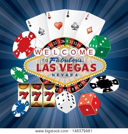 Las Vegas sign with casino icons on blue starburst, vector background
