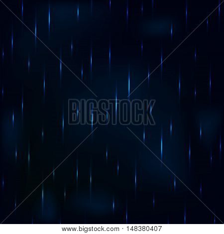 Dribble rain at night dark blue foggy sky. Vector background.
