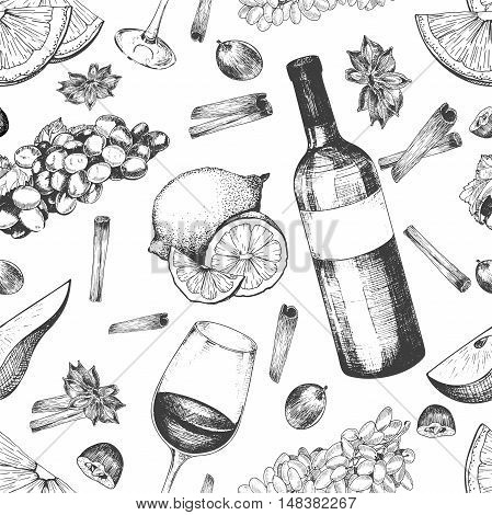 Vector seamless pattern of mulled wine ingredients. Wine bottle glass orange grape anise cinnamon. Warm alcoholic drink.