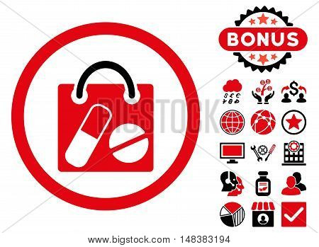 Drugs Shopping Bag icon with bonus symbols. Vector illustration style is flat iconic bicolor symbols, intensive red and black colors, white background.