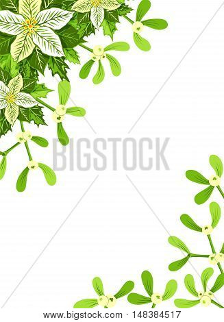 Christmas background with white poinsettia mistletoe and holly leaves decoration elements. Vertical banner with corner decorations and copy space