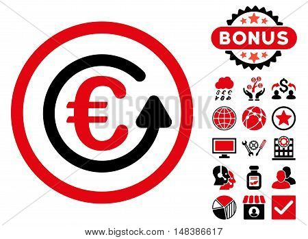 Euro Chargeback icon with bonus symbols. Vector illustration style is flat iconic bicolor symbols, intensive red and black colors, white background.