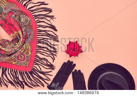 Autumn Fashion woman Accessories Set. Design fashion. Trendy Scarf Shawl, Stylish Lady Gloves, Glamor fashion Hat, Rose. Top view. Fall Fashion. Outfit Ethnic. Vintage Retro. Elegant Creative Concept