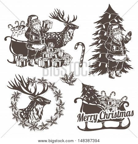Christmas decorations in stencil style. Holiday emblems for your design. Santa Claus reindeer christmas tree and gifts.