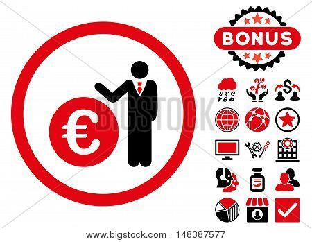 Euro Economist icon with bonus design elements. Vector illustration style is flat iconic bicolor symbols, intensive red and black colors, white background.