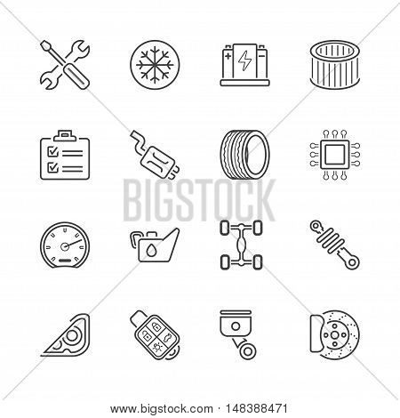 auto parts and service garage icons set thin line black color