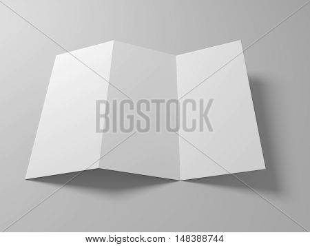 Blank 3D illustration tri-fold brochure mock-up with soft shadow on gray.