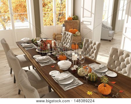 cozy nordic kitchen in an apartment. thanksgiving and fall concept. 3D rendering