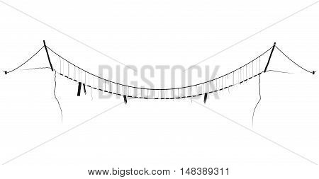 vector simple rope suspension hanging bridge black symbol. Black contour on a white background