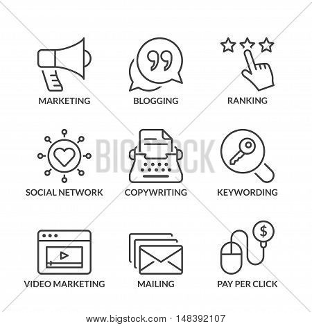 marketing icons set thin line black color
