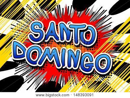 Santo Domingo - Comic book style text.