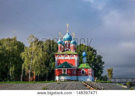 View of the Church of Tsarevich Dimitry on Blood from the Volga embankment in Uglich, Russia
