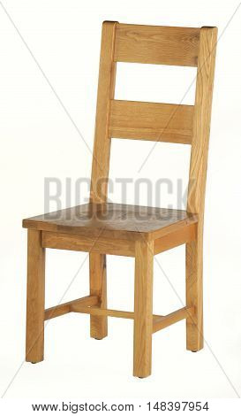 a single wooden chair on a white background