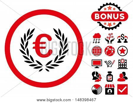 Euro Glory icon with bonus symbols. Vector illustration style is flat iconic bicolor symbols, intensive red and black colors, white background.