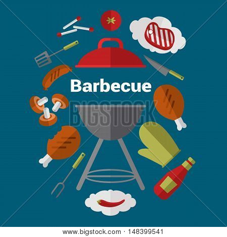 Barbecue banner with grill and food design elements. BBQ party flyers with space for text. BBQ grill banner template. Grill menu layout. Bbq grill concept and bbq grill vector icon. Bbq elements for ad or grill menu. Barbecue process banner.