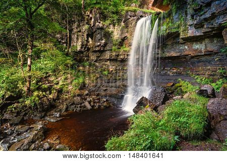 Waterfall at Ashgill, where Ash Gill flows just before it enters the River South Tyne, near its source on Alston Moor in the North Pennines