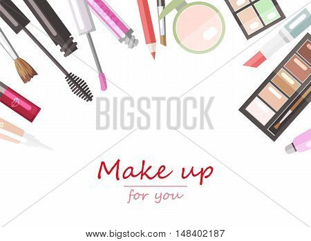 Makeup beauty products flat vector background template