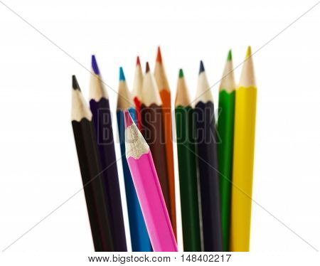 Colored wooden pencils isolated on white background.